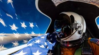 flag selfie panoramic in the U-2