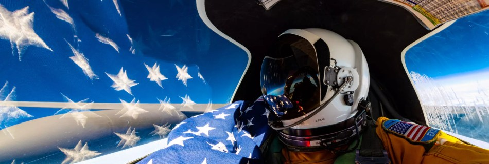 flag selfie panoramic in the U-2