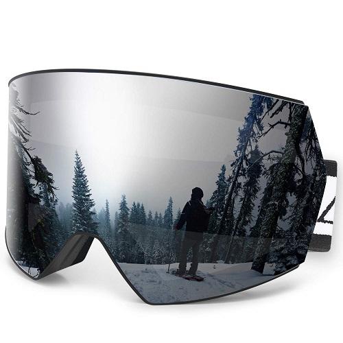 SNOWMOBILE GOGGLES SILVER UV 400 Details about  /ZACRO SKI ANTI FOG w// POUCH SNOWBOARDING