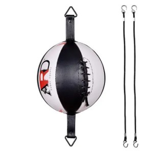 ARD Leather Boxing Speed Bag MMA Double End Dodge Ball Punching Training Floor to Ceiling Rope Workout