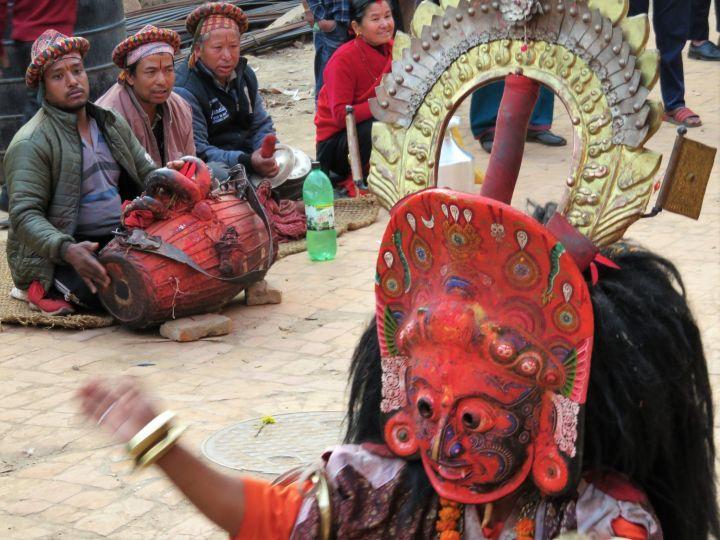 Danzante y músicos, Bhaktapur, Nepal
