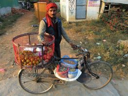 Vendedor en bicicleta, Pokhara, Nepal