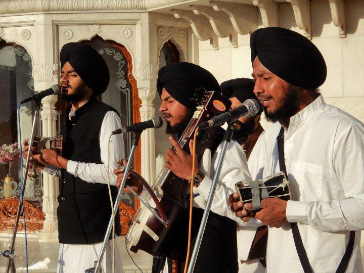 Músicos, Templo Dorado Golden Temple, Amritsar, India