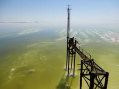 Panorámica de lago Urmia, Azerbayán occidental, Irán