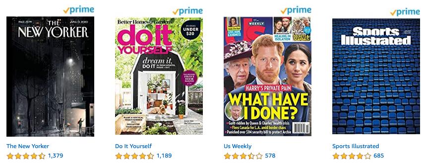 Magazines from Amazon Prime Reading