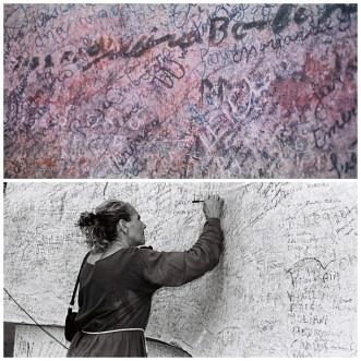 Manuscritos autógrafos em parede. Base da estátua do Padre Cícero Romão Batista, Serra do Horto, Juanzeiro do Norte-CE. 20/jan/2004