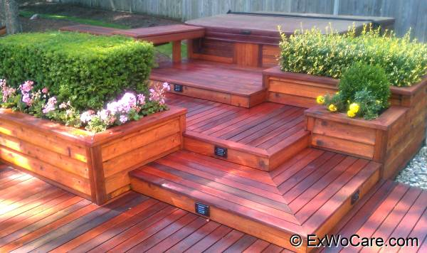 Dark Red Oil Sealer on Custom Built Clear Cedar Deck