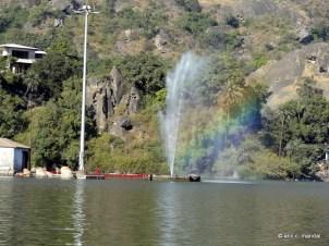 Rainbow effect of the fountain in Nakki Lake Mount Abu