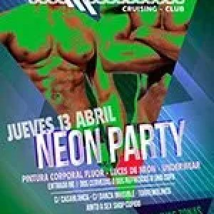 Jueves 13 de abril. neon Party. Pintura corporal, luces de neon, underwear