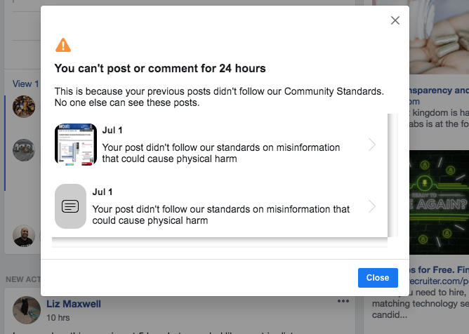 Facebook banned me for 24 hours July 1st 2020 1