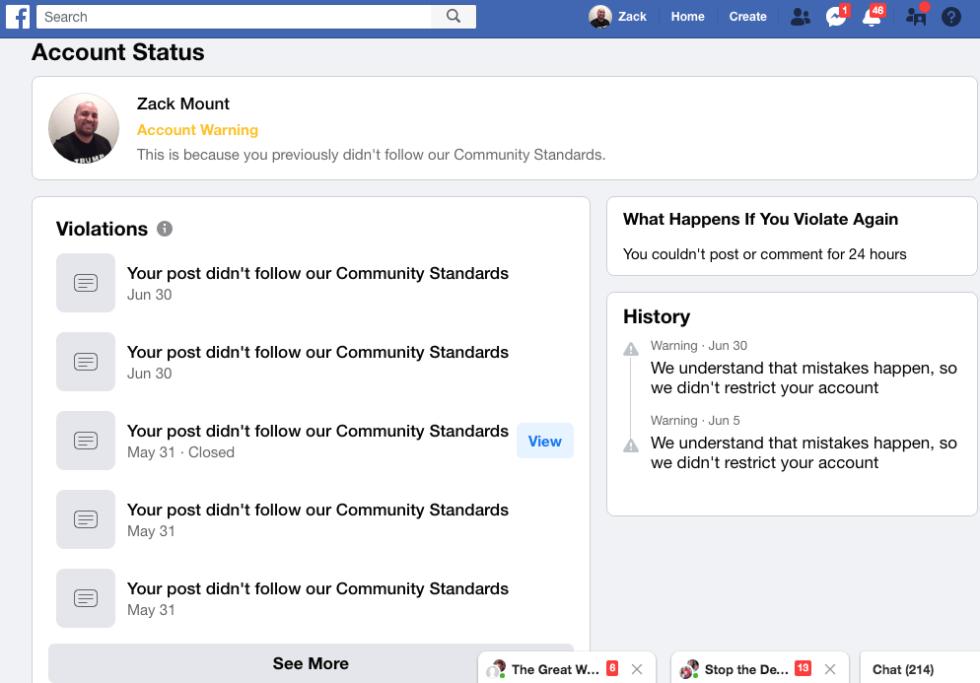 Zack Mount EXZM Facebook Banning Warning Infowars Coronavirus Hoax June 30th 2020 2