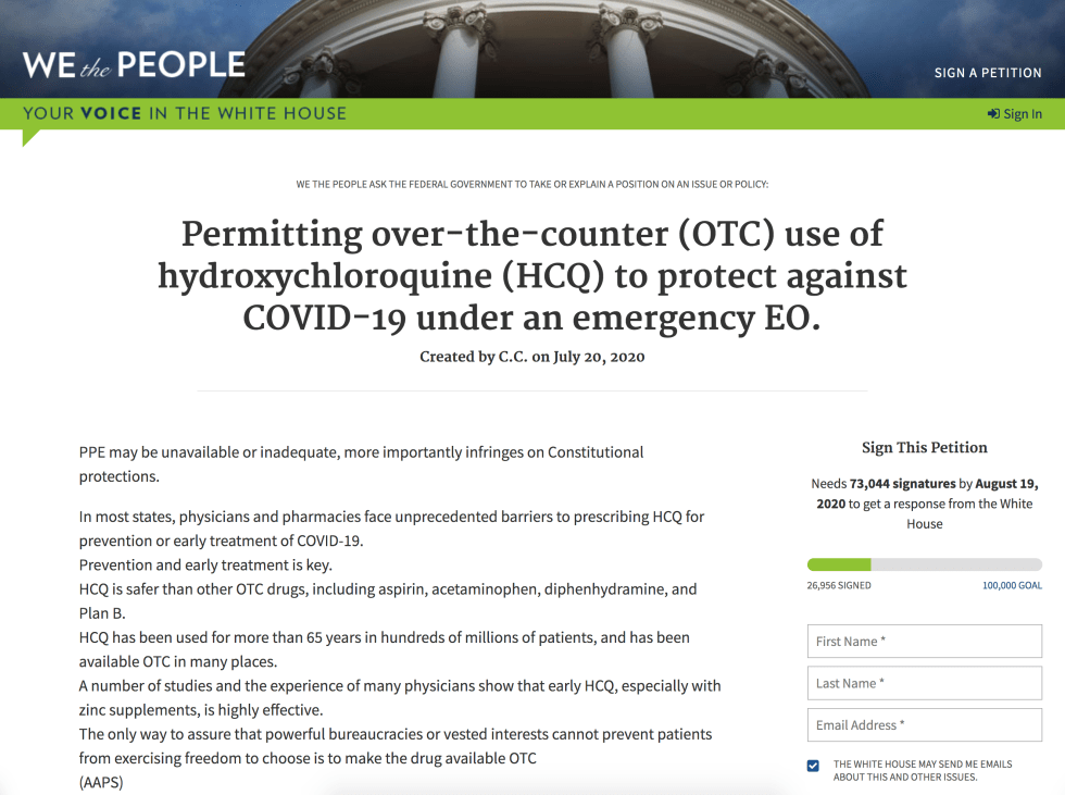 WeThePeople The White House Petition HCQ OTC August 9th 2020 1