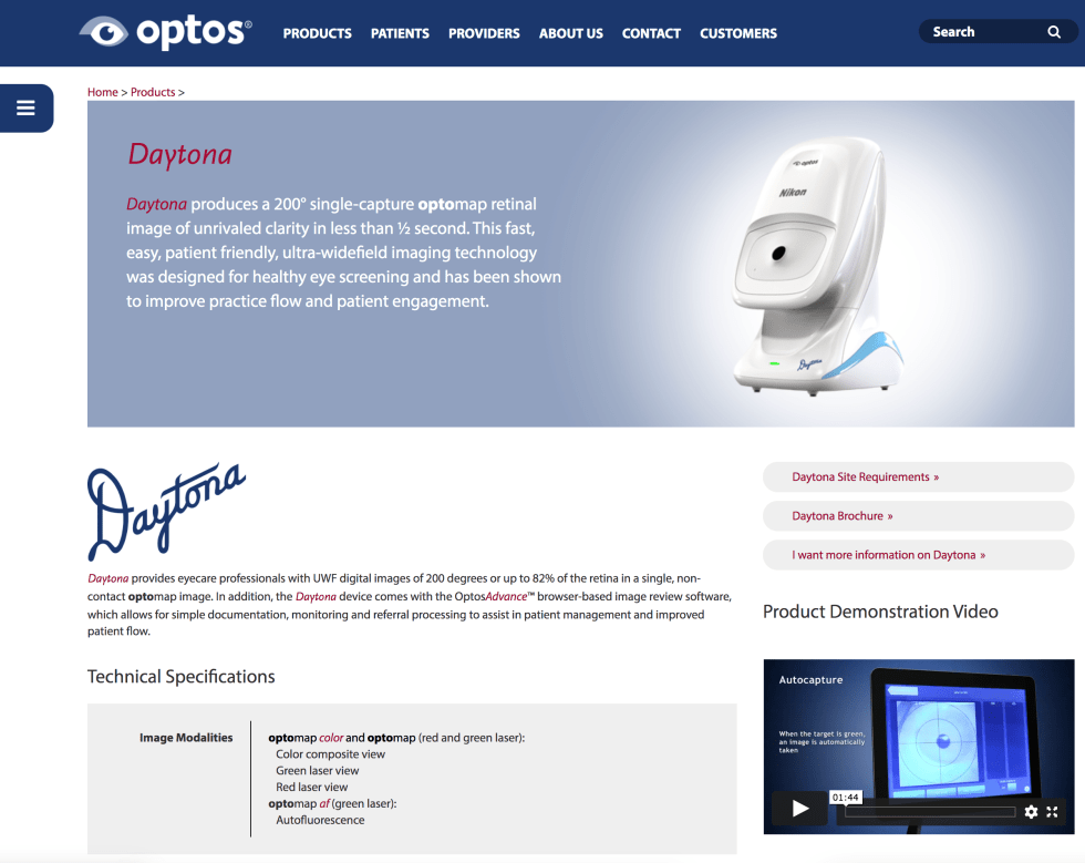 Optos Daytona Eye Retina Scanners December 13th 2020