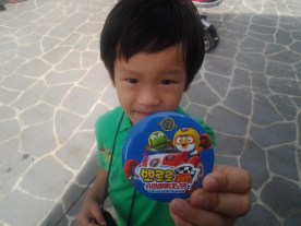 He just had to show me his Pororo badge.
