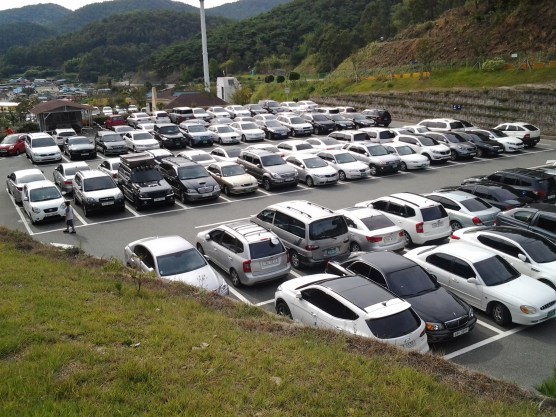 This pic is realy just to show the near utter lack of colour diversity for cars in Korea. This is changing with some of the newer 'hip' cars (i.e. Veloster) but Black, Grey, White are the norm here.