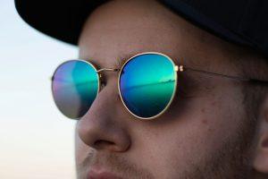 Mens Round Polarized Sunglasses with Gold Trim