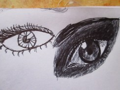 Today, one of my sisters drew an eye with me! She's left-handed, so I thought it was interesting how our eyes face different ways.