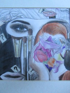 I don't usually do collages, but last year we had to create one for my art class. After we made it, we then had to sharpen our colored pencils skills and draw it. I like how it both emphasizes an eye, and also hides them.