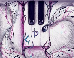 I had no inspiration today until my piano teacher sent me a text. Many of you don't know, but besides drawing, piano is one of my favorite hobbies. Anyway, instead of an E key, I placed an eye that has sheet music flowing from the eyelashes. Enjoy!