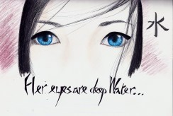 """Lately, I've been in the process of watching Memoirs of a Geisha, and they really put an emphasis on her blue eyes. Of all the geishas around, she is always remembered because her eyes have so much """"water."""" Also, the kanji in the corner means """"water."""""""
