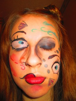 """I was looking through some paintings by Picasso, and I was inspired with the way he put eyes in different places around the face, the added nostrils, and the concept of making the face his own crazy canvas. Not only this, Lady Gaga modeled a Picasso piece with her make-up as well, so if she did it, why not? Even though it's a little """"out there,"""" I hope you all enjoy it!"""