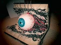 """I did this a little earlier in the year, and I thought I'd finally share it with you guys! It was a lot of fun to do, and I hope you check my website to see what it looks like from all sides. ;) The actual book is supposed to be like an """"eyelid"""" and the wires are made to imitate lashes. Also, I painted a Styrofoam ball to create the main eye. On the back, if you check my page, are more painted eyes with false lashes to enhance their appearance."""