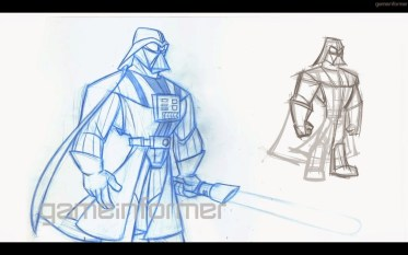 A very very early sketch of Darth where I just tried to push Darth as far as he would go.