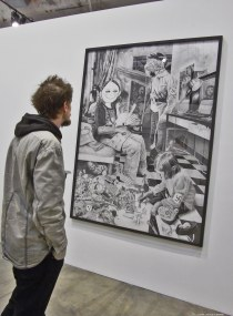 Jeu d'enfants n°4, 2011 - mine de plomb et fusain sur papier - Coll. O. Malingue - (E) - Au Village Jérôme Zonder - Le Lieu Unique à Nantes - 11 avril 2014