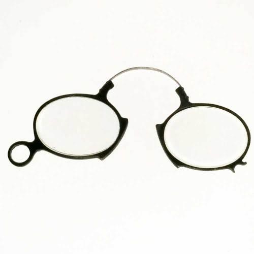 Pince nez black rubber reading glasses 1850