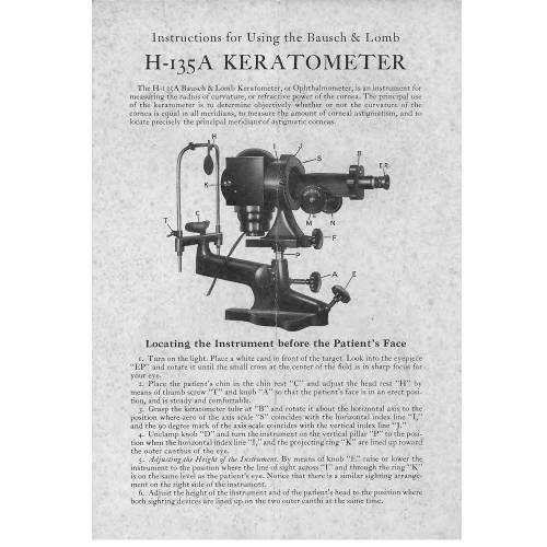Bausch & Lomb Keratometer Manual. Model H-135. Around 1928.Bausch & Lomb Keratometer Manual. Model H-135. Around 1928.
