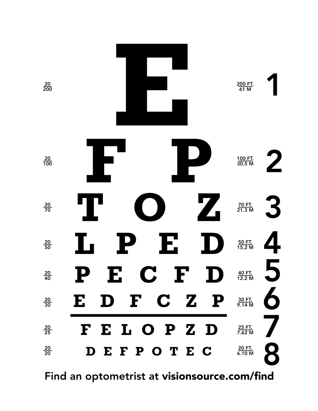 Snellen eye test chart printable decorativestyle eye chart free snellen for test bulletin nvjuhfo Image collections