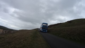 Bus coming down from the top of the cliff