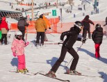 Parents get very creative to get their little ones to start skiing.