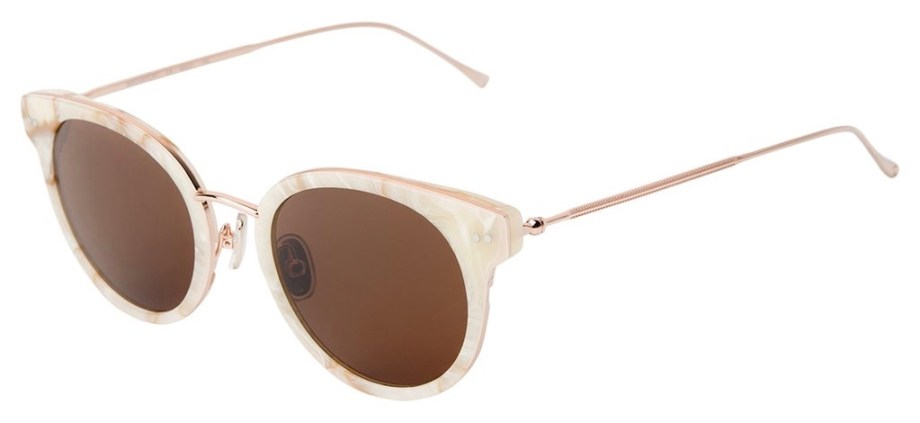 Illesteva Bridgeport Savannah Cream Marble Rose Gold w Brown Lenses Side