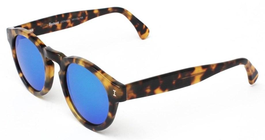 Illesteva Leonard Tortoise with Blue Mirrored Lenses Side