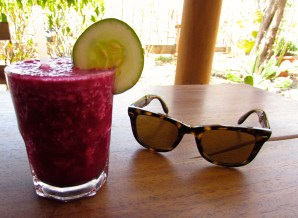 A post-yoga fresh juice made from beetroot, ginger and watermelon