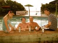 Enjoying a Tona beer with American travelers Ty, Ron and Matt