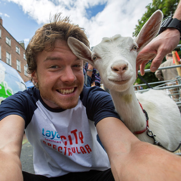 PIC BY @DAXON / CATERS NEWS - (PICTURED: Allan Dixon takes selfie with goat) This real-life Dr. Dolittle walks with the animals, talks with the animals, and... TAKES SELFIES with them. Traveller Allan Dixon has amassed a hilarious collection of shots with a variety of exotic creatures. Included in the 29-year-olds collection are smiling snaps with the likes of kangaroos, quokkas, camels and sea lions. In some of the shots, Allan, who is originally from Wicklow, Ireland, can even be seen in festive poses, placing a Santa hat on himself or his furry friends. - SEE CATERS COPY