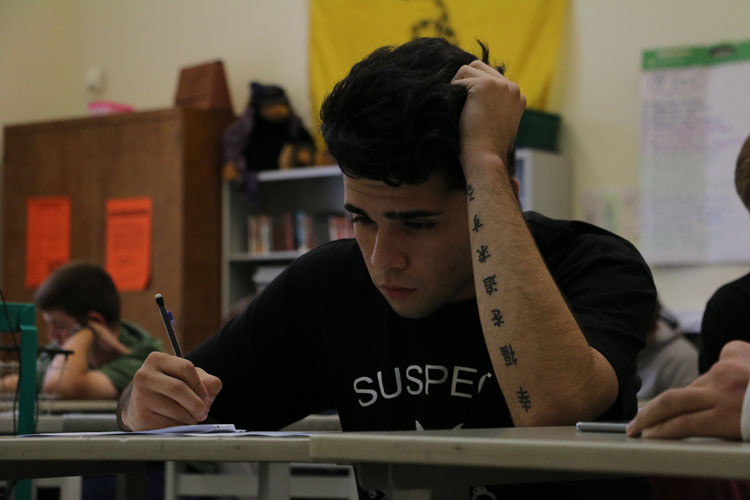 (ROBBIE SHORT/EYE OF THE TIGER) Sophmore Jessie Garcia (above) was recently called in by administration because of information he posted on his personal Twitter. Though admin's policy of monitoring student social media is not new, Student Press Law Center attorney Adam Goldstein said acting on hunches gathered from them violates students' rights.