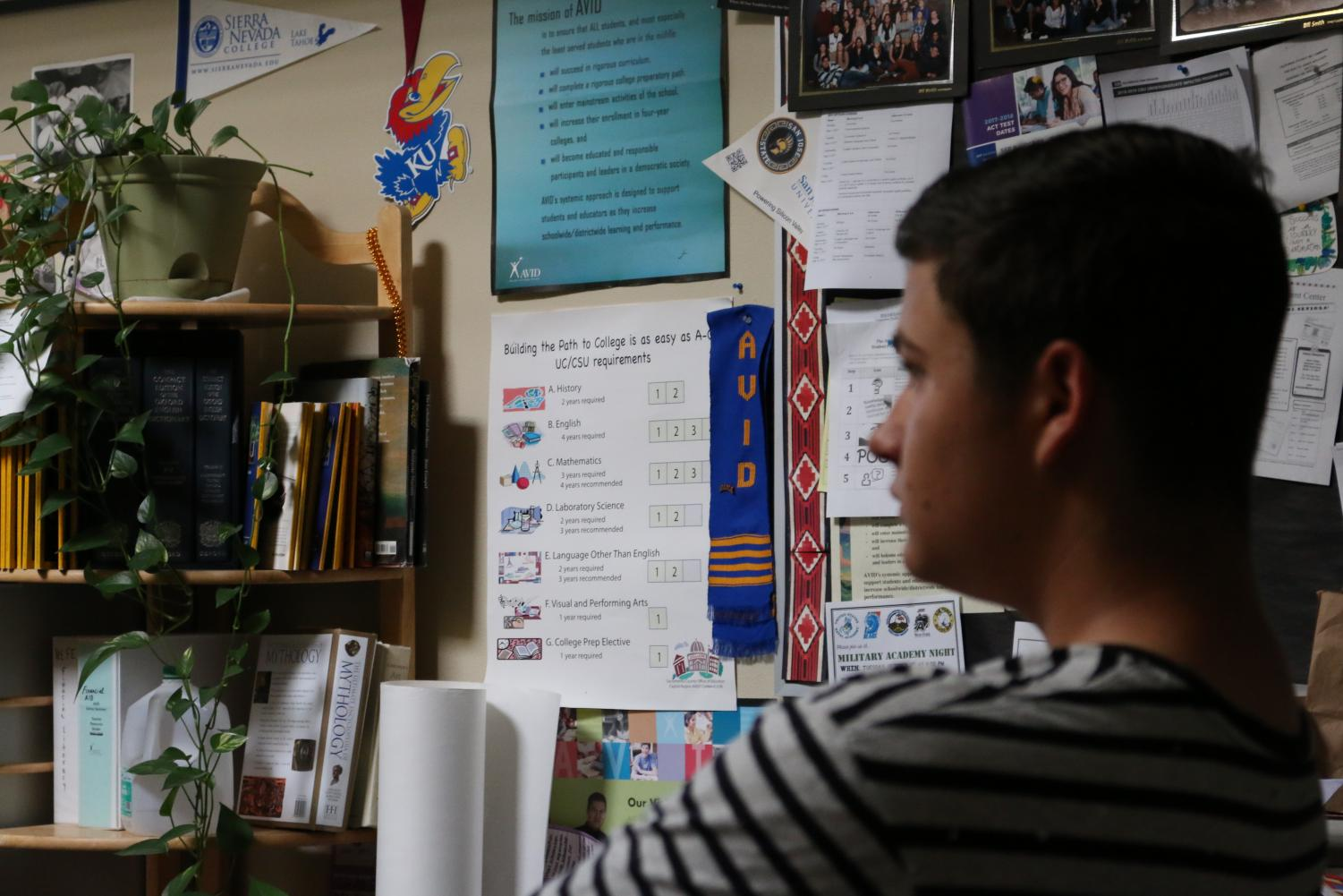 RHS senior Chris Langlet in Dean Gadway's AVID 12 class. Of all the schools in the RJUHSD, only RHS offers an AVID program.