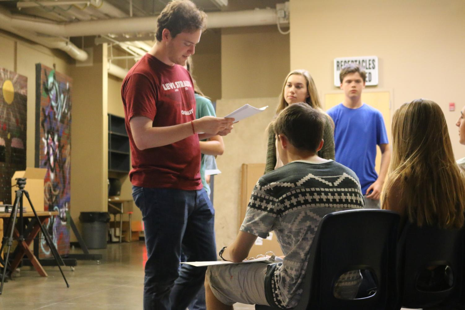 "Douglas Pomin, the director and writer of ""Intertwined"" leads the cast's rehearsal. This is his first venture in directing and he has high hopes for the play's outcome due to the dedication of his cast and fellow director, Annabelle Tiznado."