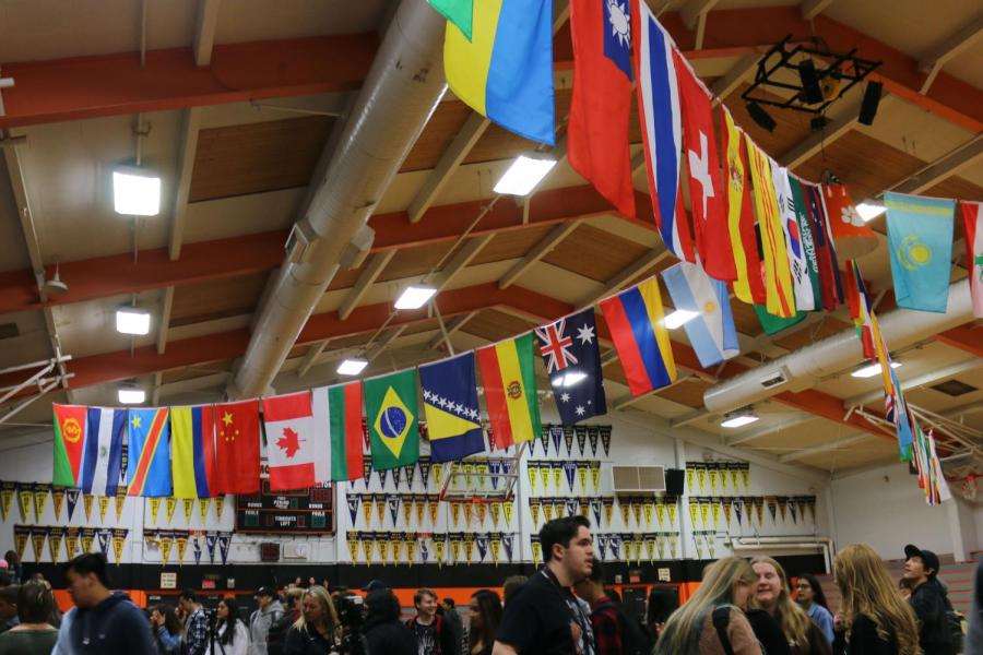 Flags were strung across the gym in honor of different countries students at RHS come from for Multicultural Day.
