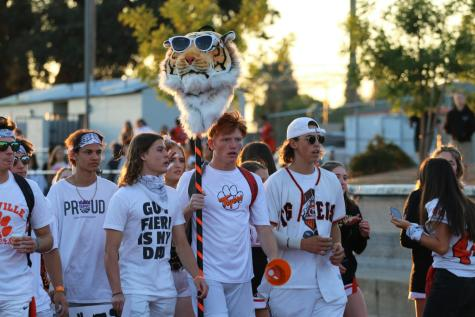 Seniors Dylan Ranallo and Dylan Rose lead the white-out themed Tiger Cage onto the field.