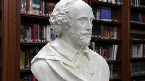 A bust sculpture of William Shakespeare in the John Adams Academy Library