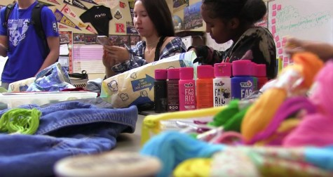 During club events, eco-conscious students  are always looking for opportunities to reuse old materials and sew or craft items together to create new, wearable accessories.