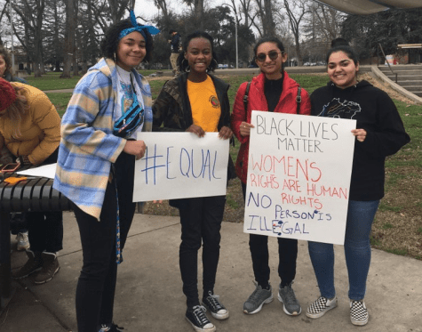 "Pictured, members of Roseville's Black Student Union at the Sacramento ""March For Our Youth"" rally earlier this year. The club meets every Monday at lunch in room 606."