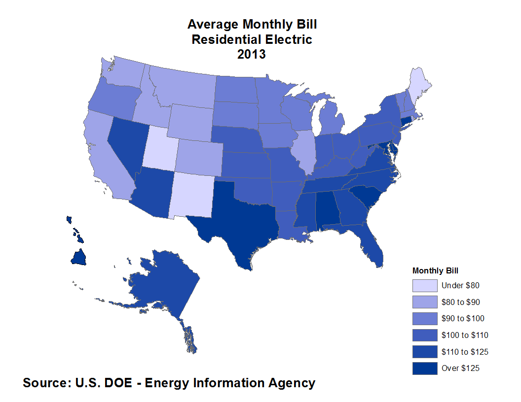 Elegant New Mexico Was The State With The Lowest Average Electric Bill In 2013 At  $76.56.