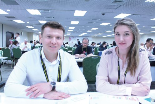 (Left) Technosila Head of Business Development Dmitriy Pivovarov (Right) Technosila Business Development Manager Daria Martynenko