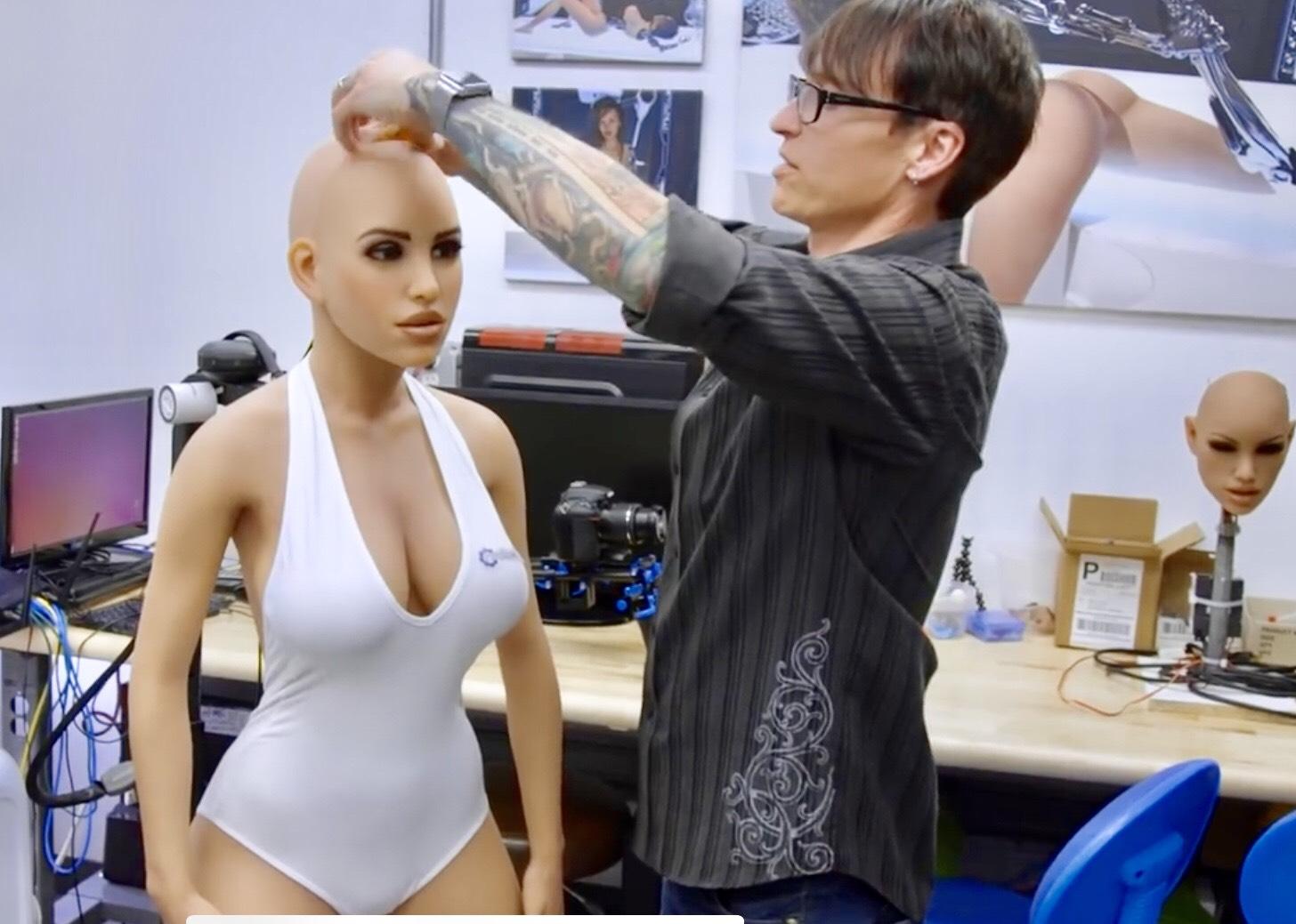 Harmony and her creator Matt McMullen, CEO of Realbotix. Source: Youtube