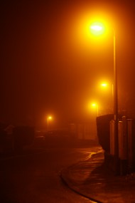 I shot these images in RAW and JPEG. I left all but one as the original JPEG because they show a true reflection on the light being omitted by the street lights; the atmosphere was very deep orange that claustrophobic as it always is when the fog drops down.
